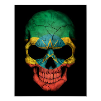 Customizable Ethiopian Flag Skull Print