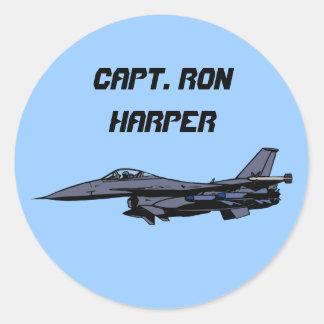 Customizable F16 Fighter Design Round Sticker