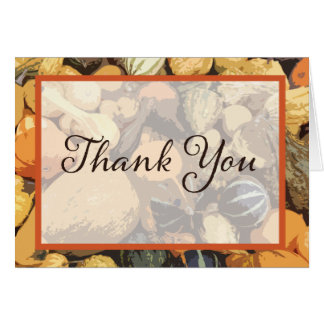 Customizable Fall Gourd Thank You Card