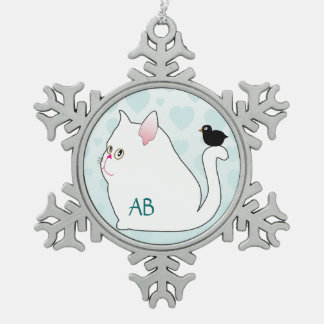 Customizable: Fat cat and birdy Pewter Snowflake Decoration