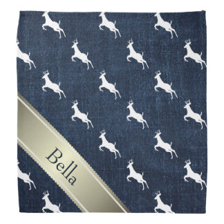 Customizable Faux Denim White Jumping Deer Bandana