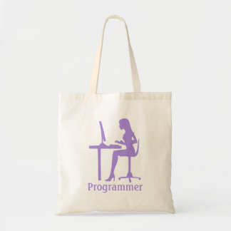 Customizable Female Silhouette Programmer Budget Tote Bag