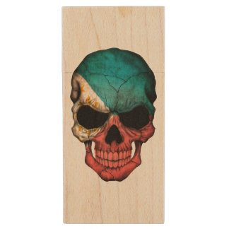 Customizable Filipino Flag Skull Wood USB 2.0 Flash Drive