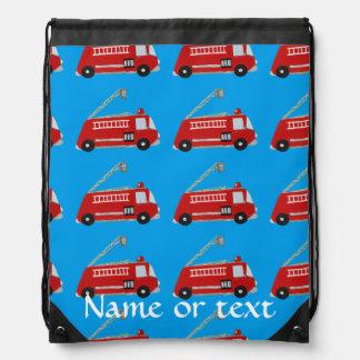 Customizable fire truck drawstring bag