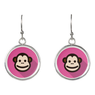 Customizable Flat Design Cute Monkey Earrings