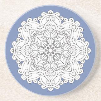 Customizable Floral Mandala Unique Drink Coaster