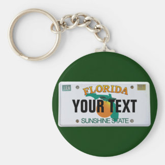 (Customizable) Florida License Plate Basic Round Button Key Ring
