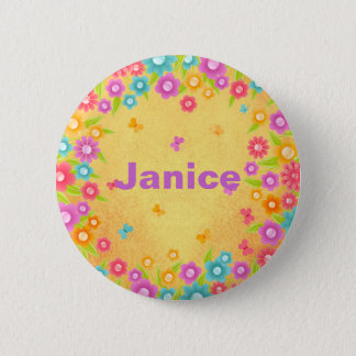 Customizable Flower Butterfly Name 6 Cm Round Badge