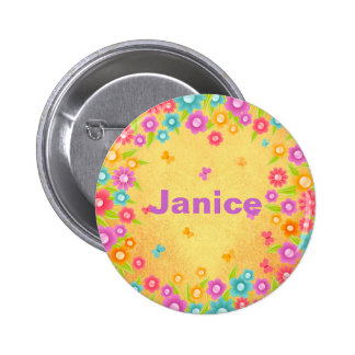 Customizable Flower Butterfly Name Badges Pinback Button