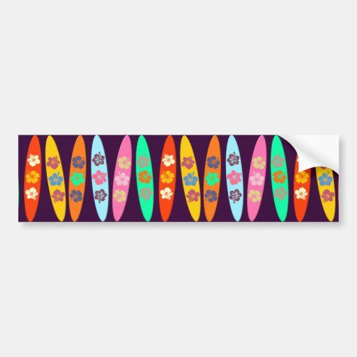 Customizable Flowered Surfboards Bumper Stickers