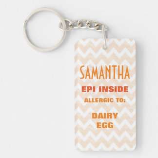 Customizable Food Allergy Alert Kids Personalized Key Ring