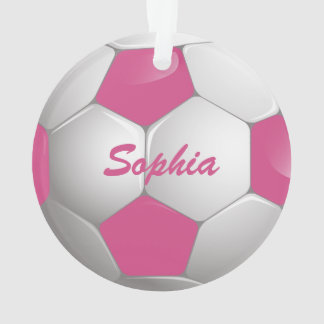 Customizable Football Soccer Ball Pink and White