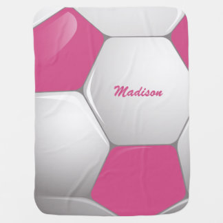 Customizable Football Soccer Ball Pink and White Baby Blanket