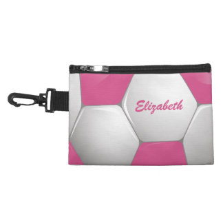 Customizable Football Soccer Ball Pink and White Accessory Bag
