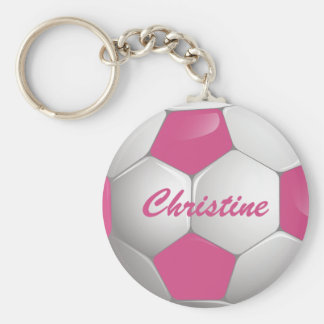 Customizable Football Soccer Ball Pink and White Basic Round Button Key Ring