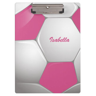 Customizable Football Soccer Ball Pink and White Clipboard