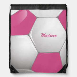 Customizable Football Soccer Ball Pink and White Drawstring Bag