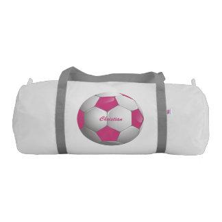 Customizable Football Soccer Ball Pink and White Gym Duffel Bag