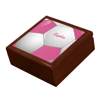 Customizable Football Soccer Ball Pink and White Large Square Gift Box