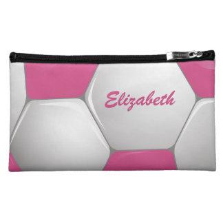 Customizable Football Soccer Ball Pink and White Makeup Bag