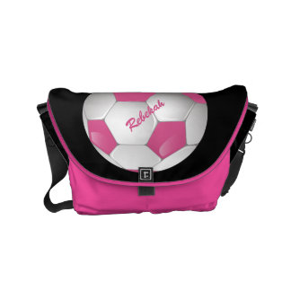 Customizable Football Soccer Ball Pink and White Commuter Bags