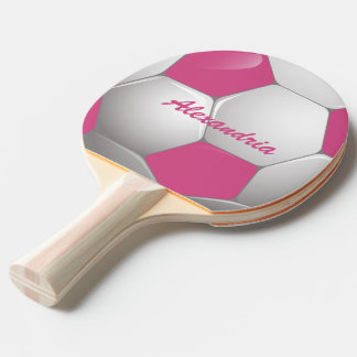 Customizable Football Soccer Ball Pink and White Ping Pong Paddle
