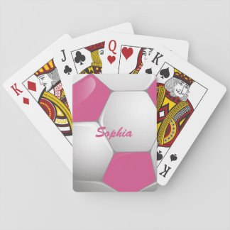 Customizable Football Soccer Ball Pink and White Playing Cards
