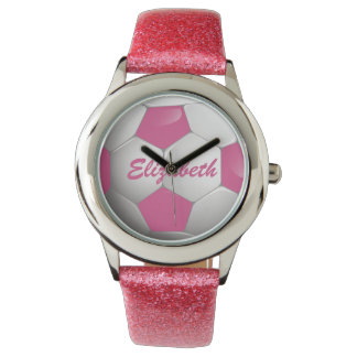 Customizable Football Soccer Ball Pink and White Watch