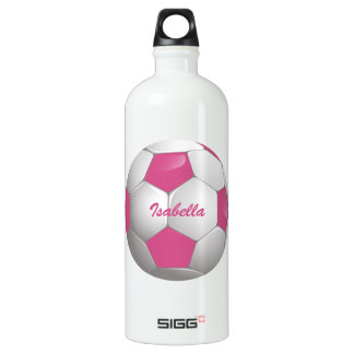 Customizable Football Soccer Ball Pink and White Water Bottle