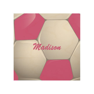 Customizable Football Soccer Ball Pink and White Wood Prints
