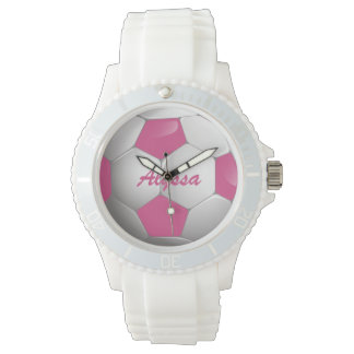 Customizable Football Soccer Ball Pink and White Wrist Watches