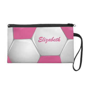Customizable Football Soccer Ball Pink and White Wristlet