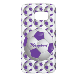 Customizable Football Soccer Ball Purple and White