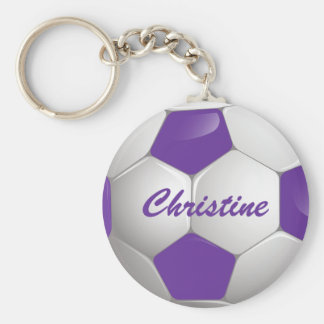Customizable Football Soccer Ball Purple and White Basic Round Button Key Ring