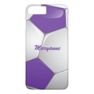 Customizable Football Soccer Ball Purple and White iPhone 7 Plus Case