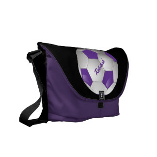 Customizable Football Soccer Ball Purple and White Courier Bags