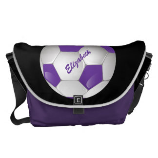 Customizable Football Soccer Ball Purple and White Courier Bag