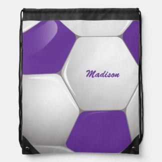 Customizable Football Soccer Ball Purple and White Drawstring Backpack