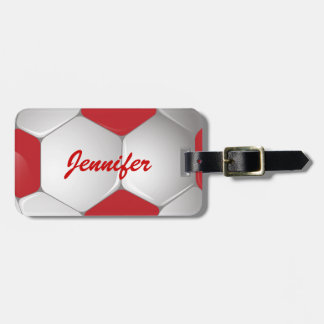 Customizable Football Soccer Ball Red and White Luggage Tag