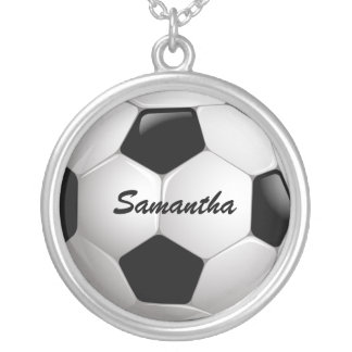 Customizable Football Soccer Ball Silver Plated Necklace