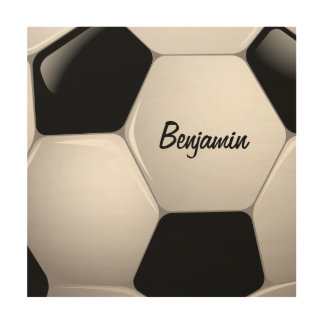 Customizable Football Soccer Ball Wood Print