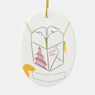 Customizable Fortune Cookie w/ Chinese Takeout Box Ceramic Oval Decoration