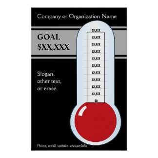 Customizable Fundraising Thermometer Poster