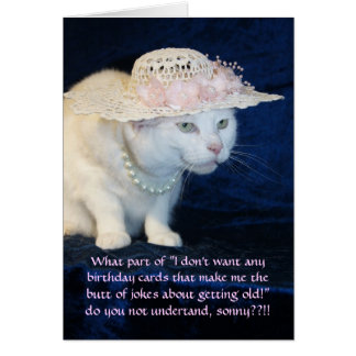Customizable Funny Cat Birthday for Older Woman Card