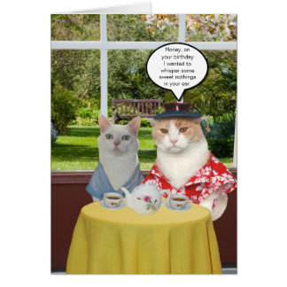 Customizable Funny Cat Birthday for Wife Greeting Card
