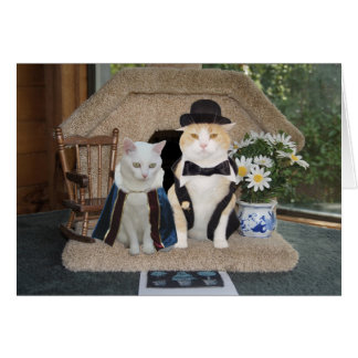 Customizable Funny Cats Anniversary Classy Couple Greeting Card