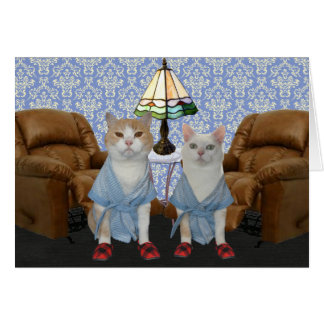 Customizable Funny Cats Anniversary Greeting Card