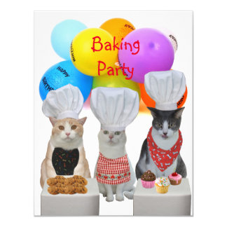 Customizable Funny Cats Baking Party Invitation