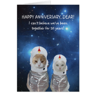 Customizable Funny Cats Space Anniversary Greeting Card