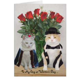 Customizable Funny Cats Valentine Greeting Card